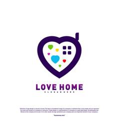 love home logo design concept business love house vector image