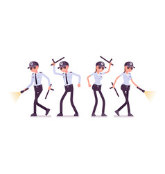 Male and female security guard working vector