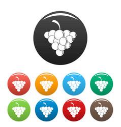 Mellow grape icons set color vector