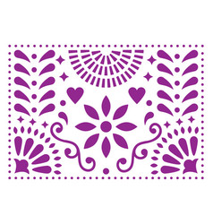 Mexican folk art pattern purple design wit vector
