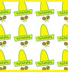 Mexican hat and maracas instrument culture vector