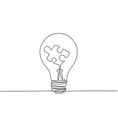 one single line drawing lightbulb with piece vector image