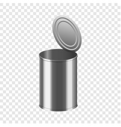 Open tin can mockup realistic style vector