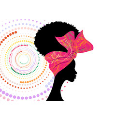 Portrait african woman wears fashion bandana vector