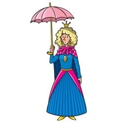 Queen in crown with umbrella vector