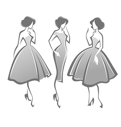 Retro girls vector