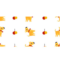 seamless new year pattern with yellow dogs vector image