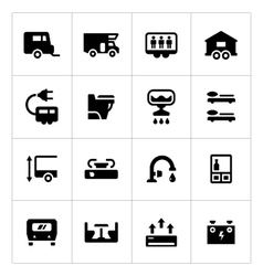 set icons camper caravan trailer vector image
