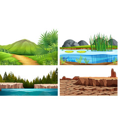 Set of natural background scenes vector