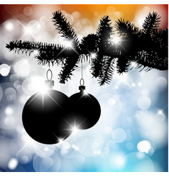 Silhouette of a christmas tree with bulbs vector
