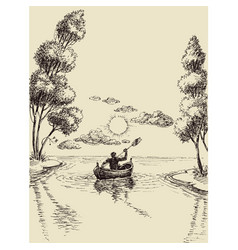 sketch a kayaker on river towards the vector image