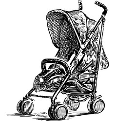 Sketch baby carriage for strolls vector