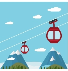 Ski Lift Gondola Snow Mountains Forest vector image