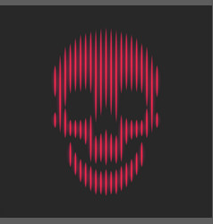 skull neon red bright lines fashion print t-shirt vector image