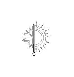 sun and snowflake flat icon vector image