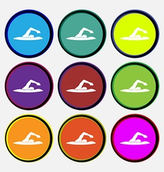 Swimmer icon sign Nine multi colored round buttons vector