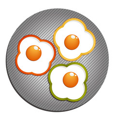 three fried eggs with green red yellow paprika vector image