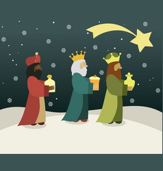 Three wise men bring presents to jesus vector