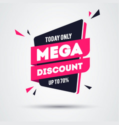 today only mega discount banner modern and flat s vector image