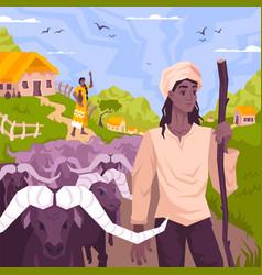 Tropical cattleman flat composition vector