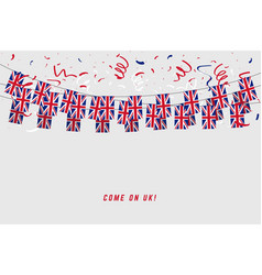 united kingdom garland flag with confetti vector image