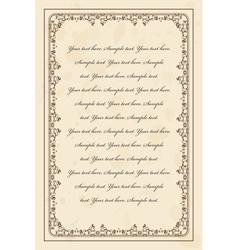 Vintage parchment frame vector