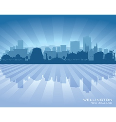 Wellington new zealand city skyline silhouette vector