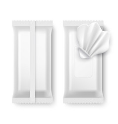 Wet wipe package white napkin packaging isolated vector