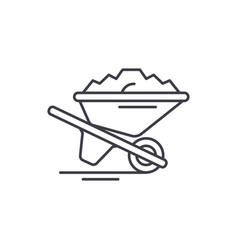 wheelbarrow with sand line icon concept vector image