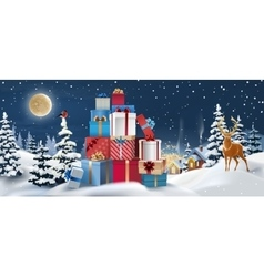 winter landscape with gifts in the vector image