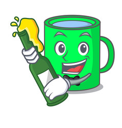 With beer mug mascot cartoon style vector