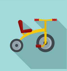 Yellow tricycle icon flat style vector