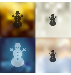 christmas snowman icon on blurred background vector image