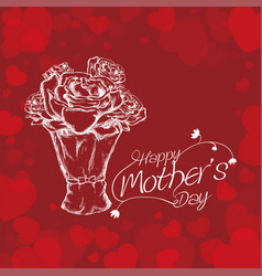 happy mothers day white bouquet roses and vector image