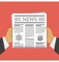 Newspaper in hand vector image vector image