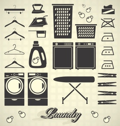 Retro Laundry Room Labels and Icons vector image vector image