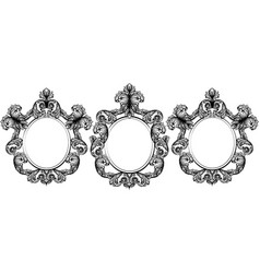 vintage baroque frame decor set collection vector image