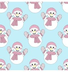 blue snowman seamless pattern Hand drawn Christmas vector image
