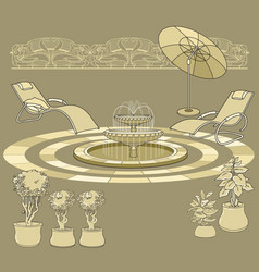 lounge chair fountain umbrella garden accessory vector image