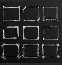 chalkboard sketch of hand drawn frame set vector image vector image
