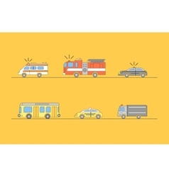 Colorful Car Thin Line Icons Set vector image vector image