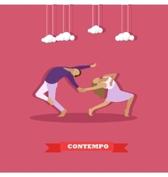 Couple performing contemporary dance Girl and guy vector image vector image