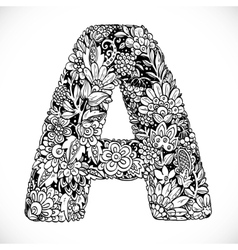 Doodles font from ornamental flowers - letter a vector