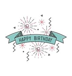 Happy birthday flat design thin line banner vector