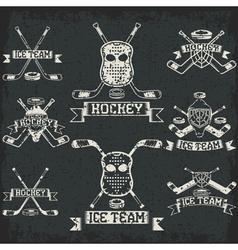 hockey sport club grunge vintage labels set vector image vector image