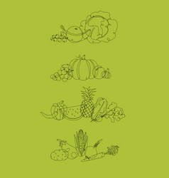 fruits and vegetables pen line green vector image