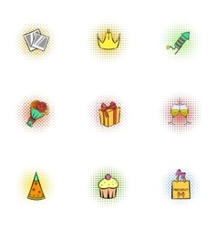 Holiday birthday icons set pop-art style vector image