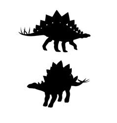 Stegosaurus dinosaur silhouettes vector