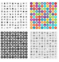 100 mirror icons set variant vector