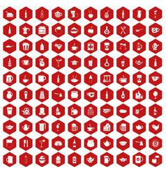 100 utensil icons hexagon red vector